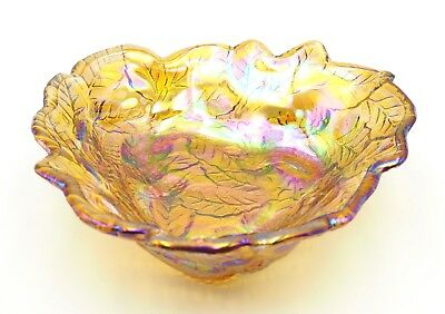 Vintage Indiana Glass Loganberry Pattern Amber Iridescent Triangular Bowl