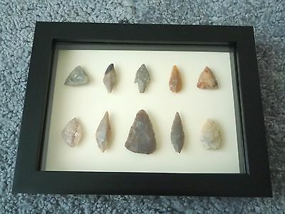 Neolithic Arrowheads in 3D Picture Frame, Authentic Artifacts 4000BC (0433)
