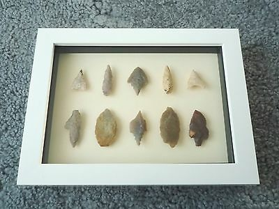 Neolithic Arrowheads in 3D Picture Frame, Authentic Artifacts 4000BC (0442)