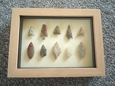 Neolithic Arrowheads in 3D Picture Frame, Authentic Artifacts 4000BC (0789)