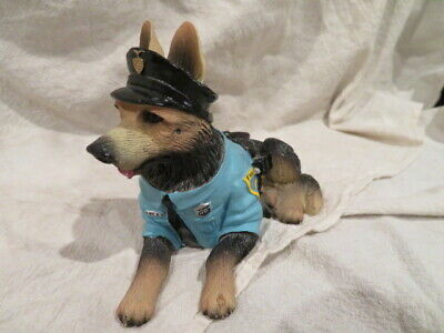 German Shepherd Dog Figurine Wearing Police Officer Outfit & Equipment Avery