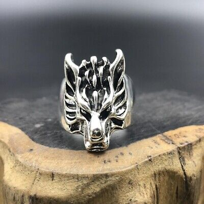 Chinese antique Tibetan silver hand-carved Wolf head ring.   c590