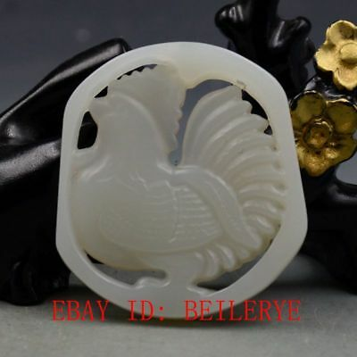 Chinese Natural Hetian White Jade Hand Carved Cock Pendant B17