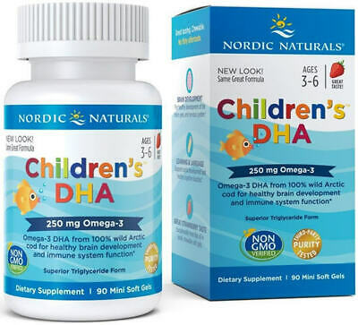Nordic Naturals Children's DHA Omega-3 DHA, 90 Soft Gels 250mg Triglyceride