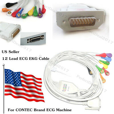 US STOCK! 12 Lead ECG cable Gilding snap Type for ECG machines,Gilding clip type