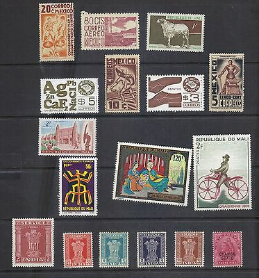 LJL Stamps: 17 Old stamps from Mexico, Mali, India, MNH, Nice collection