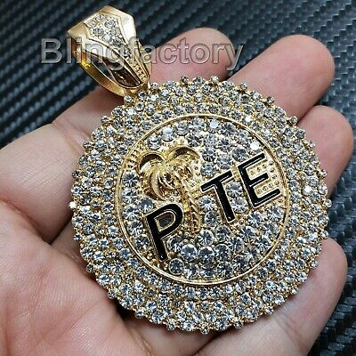 Hip Hop Bling Rapper's Full Iced Out Gold Plated Large Pte Charm Pendant