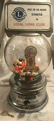 Vintage FORD GUM & MACHINE CO. INC. 1 CENT GUMBALL MACHINE Works With Key Lions