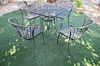 Vintage Carolina Forge Chairs and Iron Table Patio Set  MCM Clam shell back