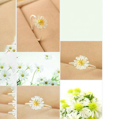 Silver Plated Adjustable Ring Thumb Finger Toe Daisy Flower Design N7