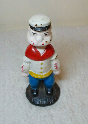 Vintage Cast Iron Popeye the Sailor Man Coin Bank