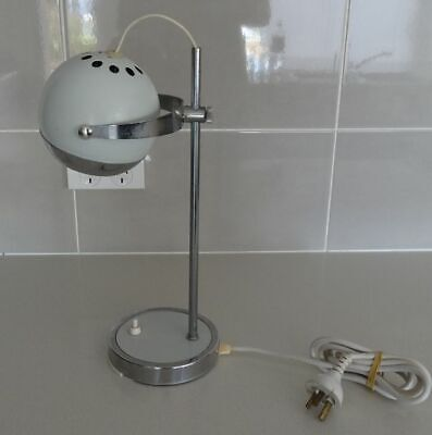 Vintage JETAGE Eyeball Desktop Table Lamp White & Chrome, Atomic, RETRO 1960s