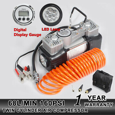 NEW 12V Dual Cylinder 160PSI Car Tyre Inflator Air Compressor Pump 4x4 4WD