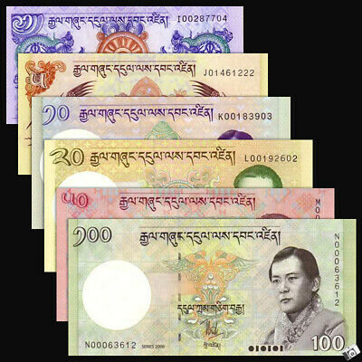 Set of 6 PCS Bhutan 1-100 Ngultrum,Banknotes, UNC