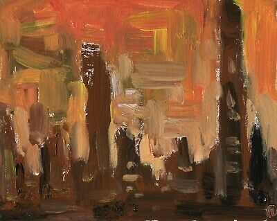 248. Chicago Cityscape Original Oil Painting Impressionist Sunset Art
