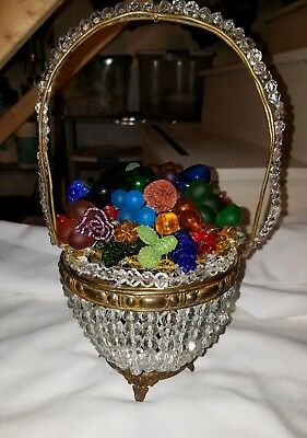 Vintage Czech Glass Fruit and Glass Flowers Basket Lamp