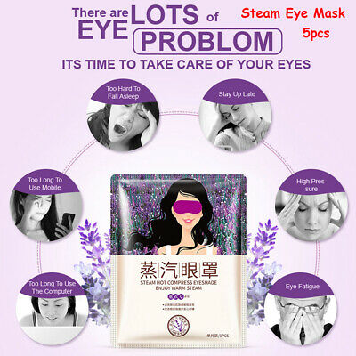 5 pcs Lavender Self-Heating Warm Steam Eye Mask Sleeping Patch Relieve Fatigue~