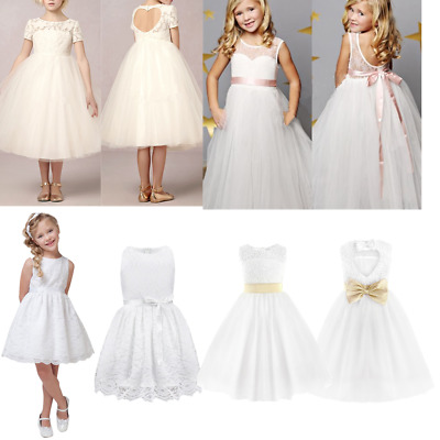 Flower Girl Lace Dress Princess Wedding Party Formal Communion Dresses Ball Gown