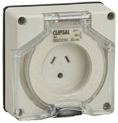 Clipsal 56-SERIES SOCKET OUTLET 250V 10A 3-Pin Auto Switched,Less Enclosure,Grey