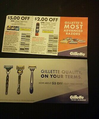 3 Gillette Coupons $10 Total value