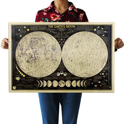 Vintage Retro Paper Earth's Moon World Map Poster Wall Chart Bedroom Decor Hot