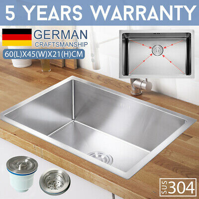 600x450mm 304 Stainless Steel Handmade Kitchen Sink Under/Topmount Single Bowl