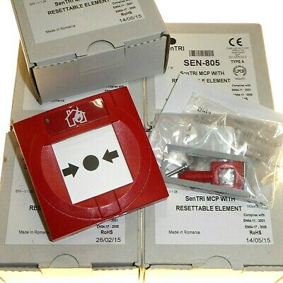 5 x New Resettable Manual Alarm Call Points Button MCP Fire / Emergency SEN-805