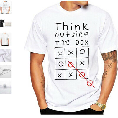Men's Think Outside The Box Short-sleeve Leisure Letter Print T-shirt Tops LH