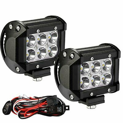 "Pair 200W 4"" inch Work Lights CREE Flood LED Light Bar Reverse 4WD Free Wire"