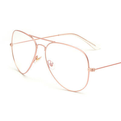 f952e564d949 Retro Aviator Eyeglasses Frame Clear Lens Metal Alloy Double Bridge Glasses  PINK