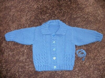Brand New Hand Knitted Boys Cable Design Cardigan Fit Age 9 - 12+ Months.