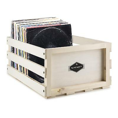 75 Lp Vinyl Record Case Safe Box Wooden Portable Black Rack Home Retro Design