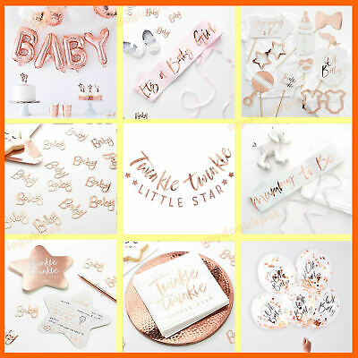 Oh Baby Rose Gold Baby Shower Party Table Decorations Twinkle Star Tableware
