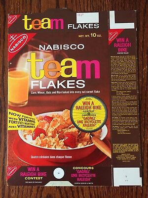 1970's Team Flakes Cereal Box Nabisco Flat Never Used Raleigh Bike Offer