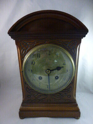Edwardian Domed Top Bracket Clock Carved Mahogany Case, brass feet