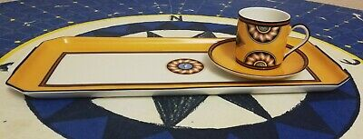 Rare limoges porcelain puiforcat pompei tray and 6 cups of coffee