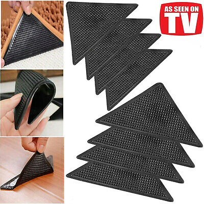 8x Grippers Rug Carpet Mat Non Slip Skid Reusable Washable Ruggies Grips UK