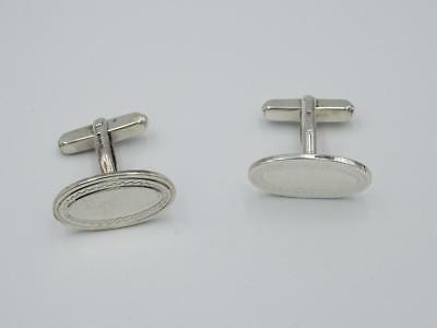 Sterling Silver 925 Mens Oval Shaped Patterned Cufflinks 6.7g