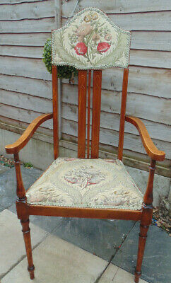 Lovely Antique Edwardian Inlaid High Back  Mahogany Armchair