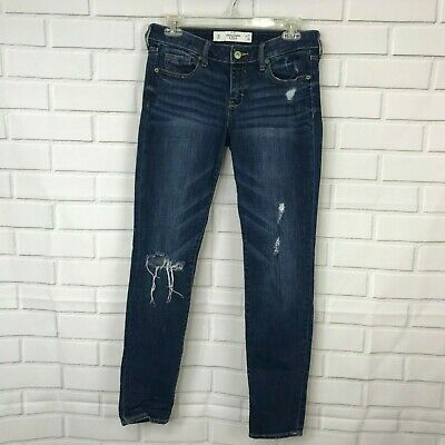 3119309d7 Abercrombie & Fitch Super Skinny Jeans Distressed Dark Low Rise Womens Size  4S