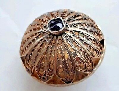 Russian imperial 84 Silver Brooch in gilding with black Stone workmaster Faberge