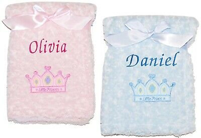 Baby Girl Boy Personalised Blanket Prince Princess Embroidered Name Shower Gift