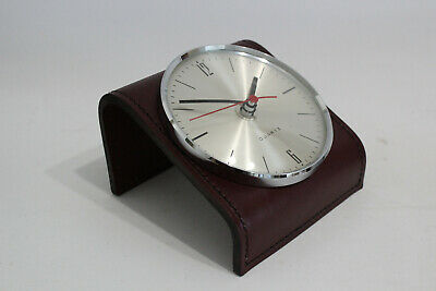 Germany Design Tischuhr Leder 60er 70er Table Clock 70s 60s