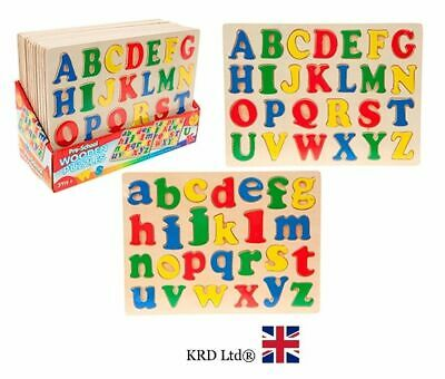 WOODEN ALPHABET PUZZLE Letters Board Learning Children Kids Birthday Gift NEW UK