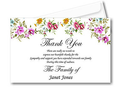 10 Personalised Funeral Remembrance Thank You cards Ref TH11