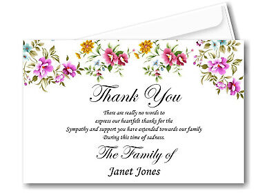 30 Personalised Funeral Remembrance Thank You cards Ref TH11
