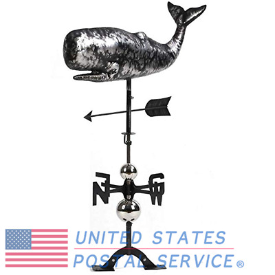 Cruising Whale Weather Vane Crafted Aged Matte Black 3D Stainless Steel Ornament