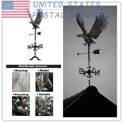 Handmade Hunting Eagle Weather Vane Aged Matte Black 3D Stainless Steel Ornament