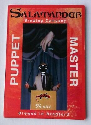 Beer pump clip badge front SALAMANDER brewery PUPPET MASTER cask ale Yorkshire