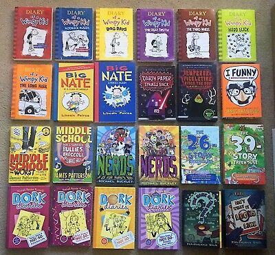 Lot 24 Middle School Chapter Books Wimpy Kid, Big Nate, Nerds, Dork Diaries